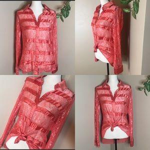 BKE Boutique Lace Button Down Top Size Medium